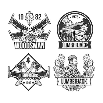 Set of vintage lumberjack emblems, logos. isolated on white