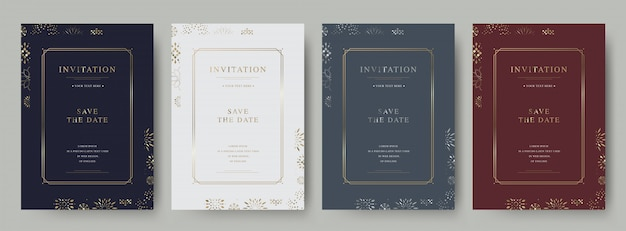 Set of vintage  luxury invitation card