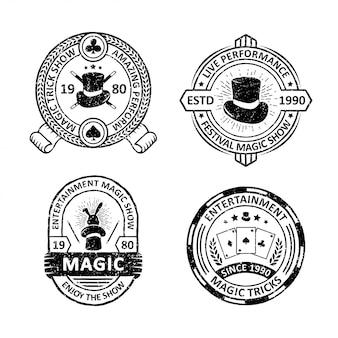 Set of vintage magician badges