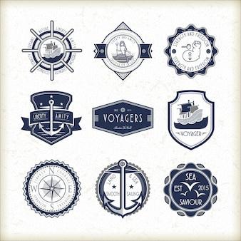 Set of vintage marine emblems isolated on white background