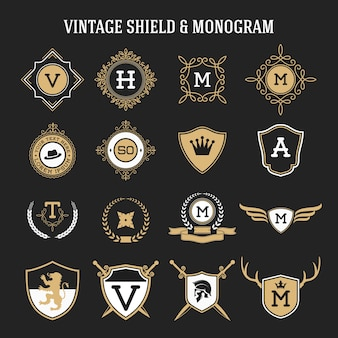 Set of vintage monogram and shield elements Premium Vector