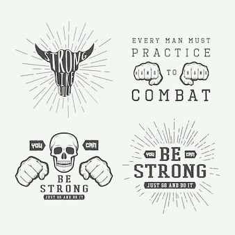 Set of vintage motivational and inspirational fighting poster in retro style monochrome graphic art