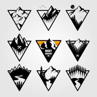 Set of vintage mountain triangle logo view landscape outdoor adventure