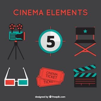 Set of vintage movie elements