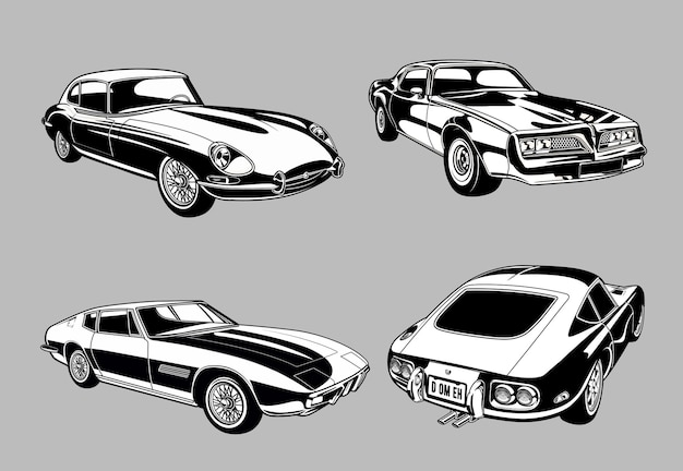 Set of vintage muscle and classic cars in monochrome retro style cars