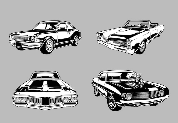 Set of vintage muscle and classic cars in monochromeretro style cars