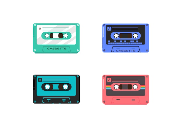 Set of vintage music retro cassette on white background. plastic audio cassettes, vintage media devices, music recording isolated icons.