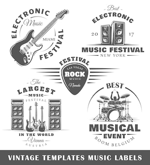 Set of vintage musical labels templates