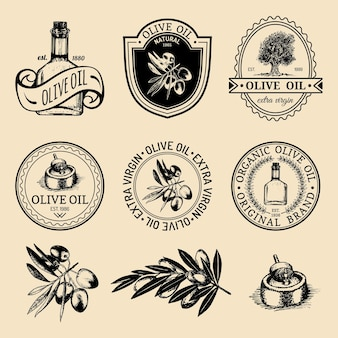 Set of vintage natural olive production logos. retro hand sketched extra virgin oil signs, badges collection with farm elements.