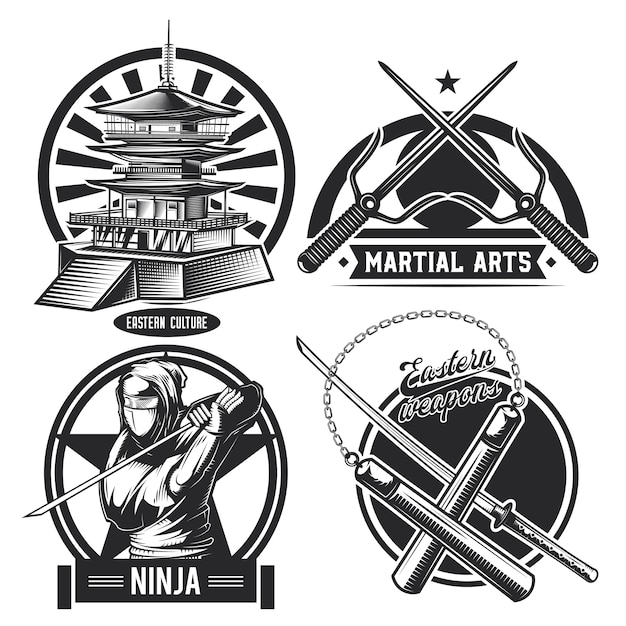 Set of vintage ninja emblems