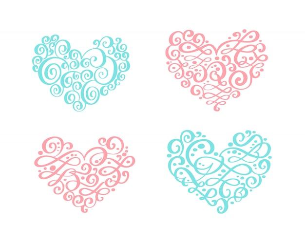 Set of vintage ornament hearts