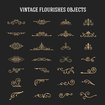 Set of vintage ornamental flourishes
