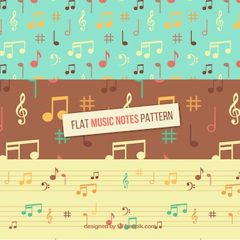 Set of vintage patterns with music notes