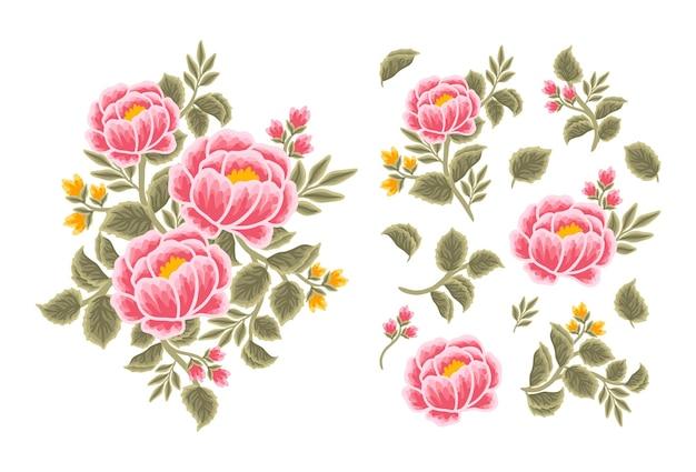 Set of vintage peony flower, leaf branch, feminine floral bouquet arrangements
