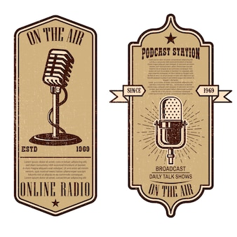 Set of vintage podcast, radio flyers with microphone
