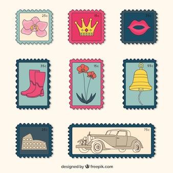 Set of vintage post stamps