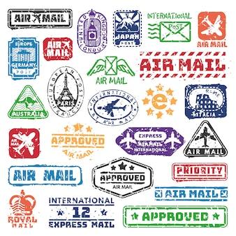 Set of vintage postage mail stamps.
