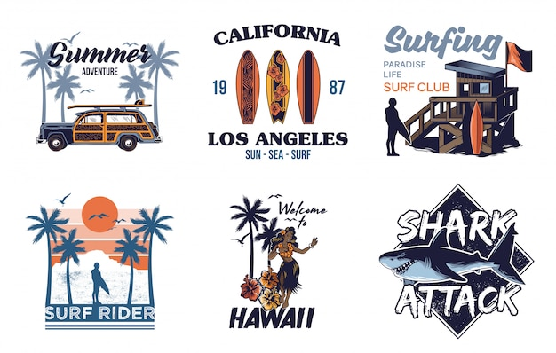 Set vintage print collection summer hawaii california paradise surfing retro icons logo with sea ocean animals wave view palms travel beach surfer for  t shirt sticker patch fashion illustration