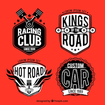 Set of vintage race badges