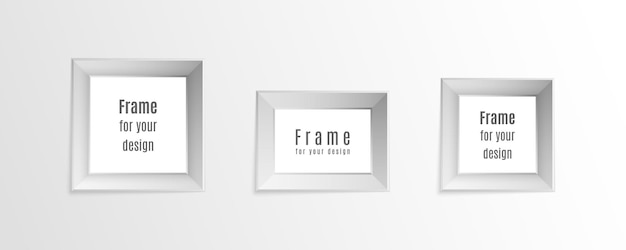 Set of vintage realistic photo frames isolated on transparent background