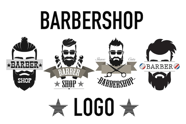 Set of vintage retro barbershop logo isolated on white