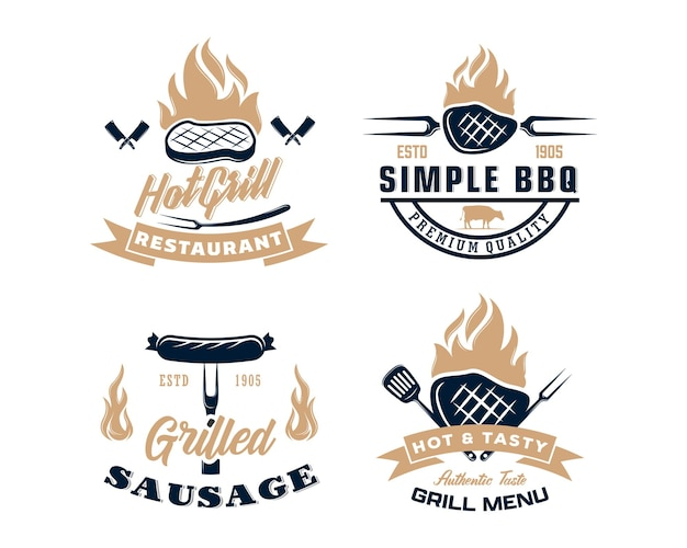 Set of vintage retro bbq grill barbecue barbeque label