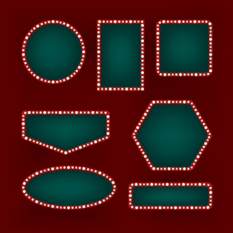 Set of vintage retro frames on the red background. shining neon billboards of different shapes. cinema, cafe or casino decoration.