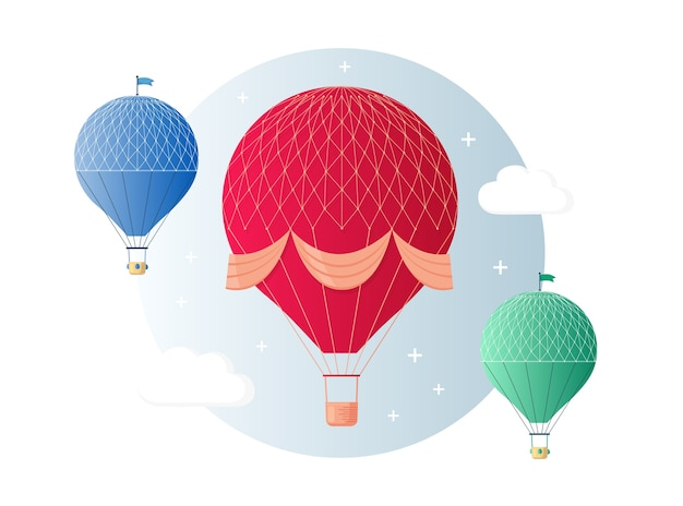 Set of vintage retro hot air balloon with basket in sky