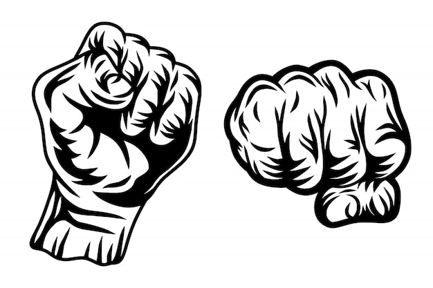 Set of vintage retro human fist hands isolated  illustration on a white background.