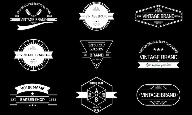 Set of vintage retro label logo design