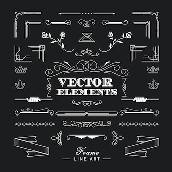Set of vintage retro linear thin line art deco elements