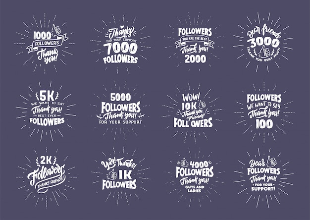 Set of vintage, retro thank you followers lettering