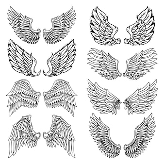Set of vintage retro wings angels and birds isolated  illustration in tattoo style.