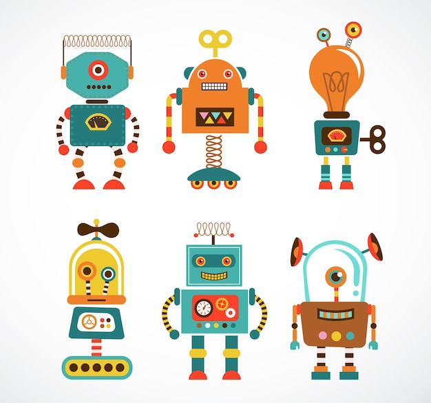Set of vintage robot characters