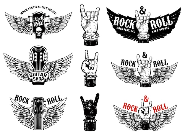 Set of vintage rock music fest emblems