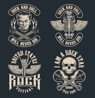 Set of vintage rock and roll emblems on dark background. perfect for the shirt s and many other. text is on the separate group.