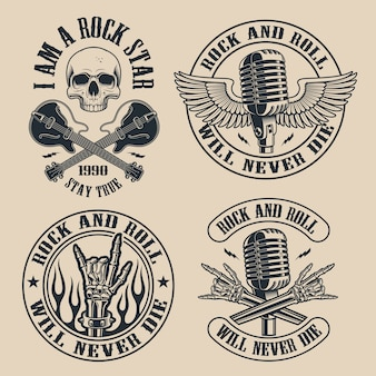 Set of vintage rock and roll emblems with shull on dark background. perfect for the shirt s and many other. text is on the separate group.