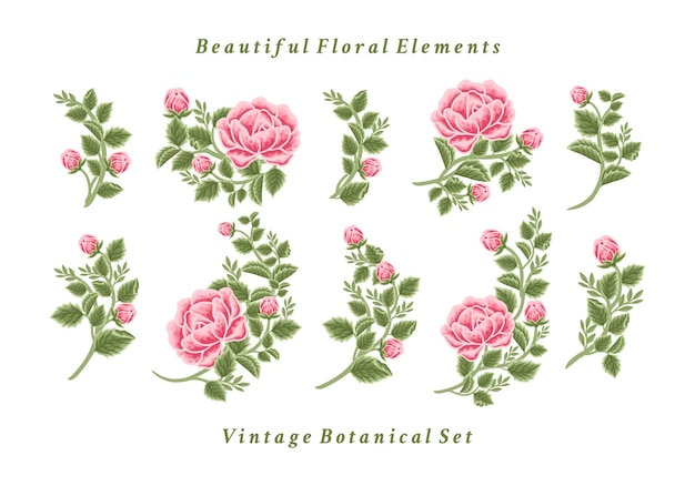 Set of vintage rose flower bouquet arrangements