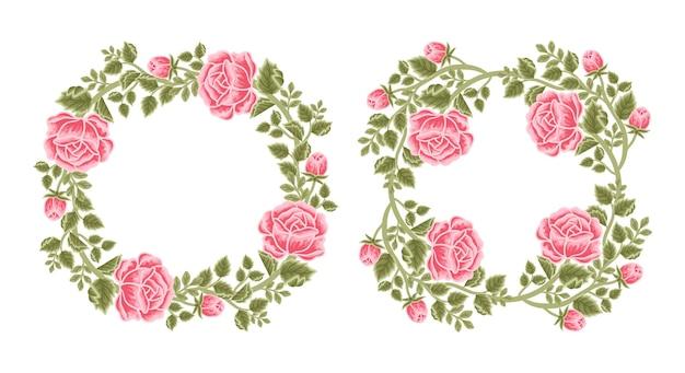 Set of vintage rose flower frame and wreath arrangements