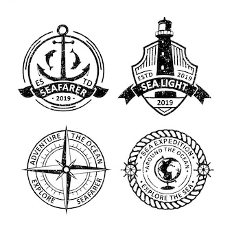 Set of vintage sailing badges labels, emblems and logo