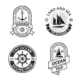 Set of vintage sailing badges