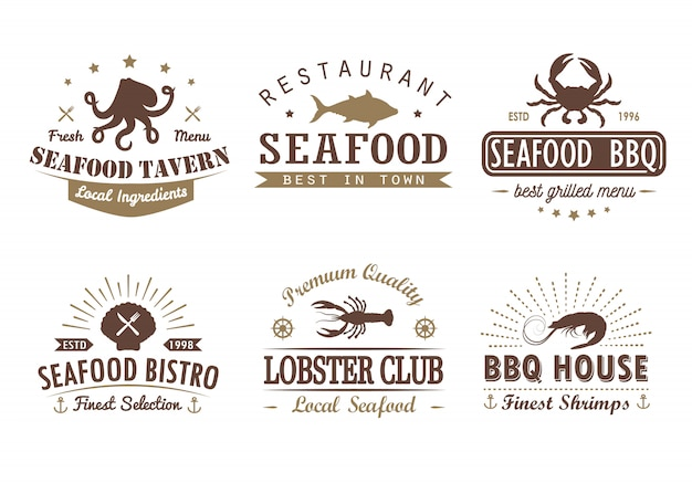 Set of vintage seafood, barbecue, grill logo templates, badges and design elements
