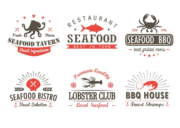 Set of vintage seafood, barbecue, grill logo templates and badges