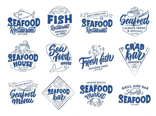 Set of vintage seafood emblems and stamps. fish bar badges, stickers   isolated.