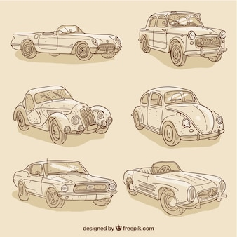 Set of vintage sketches stylish cars