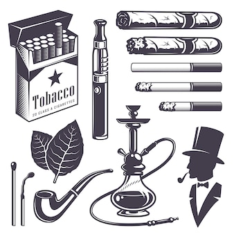 Set of vintage smoking tobacco elements. monochrome style. isolated on white background.