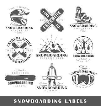 Set of vintage snowboarding logos