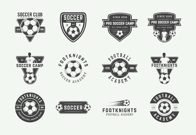 Set of vintage soccer or football logo