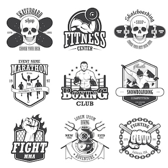Set of vintage sports emblems, labels, badges and logos. monochrome style