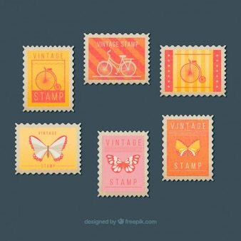 Set of vintage stamps with butterflies and bikes